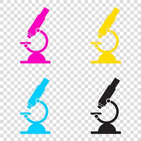 Chemistry microscope sign for laboratory. CMYK icons on transparent background. Cyan, magenta, yellow, key, black. Illustration