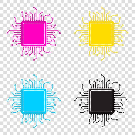 CPU Microprocessor illustration. CMYK icons on transparent background. Cyan, magenta, yellow, key, black.