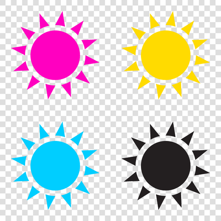 clave sol: Sun sign illustration. CMYK icons on transparent background. Cyan, magenta, yellow, key, black.