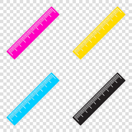 Centimeter ruler sign. CMYK icons on transparent background. Cyan, magenta, yellow, key, black.