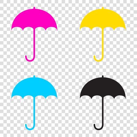 Umbrella sign icon. Rain protection symbol. Flat design style. CMYK icons on transparent background. Cyan, magenta, yellow, key, black.