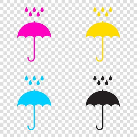 Umbrella with water drops. Rain protection symbol. Flat design style. CMYK icons on transparent background. Cyan, magenta, yellow, key, black. Illustration