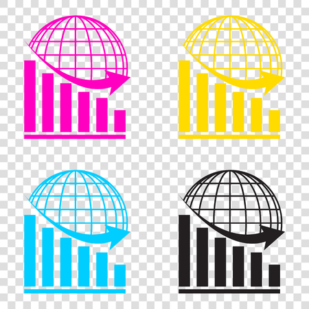 Declining graph with earth. CMYK icons on transparent background. Cyan, magenta, yellow, key, black.