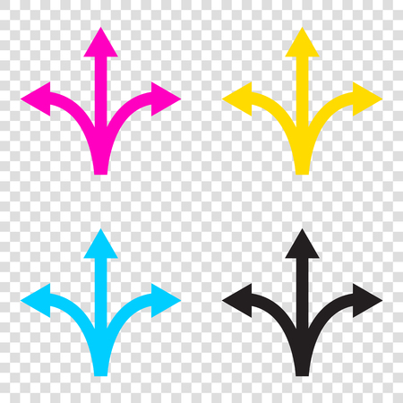 Three-way direction arrow sign. CMYK icons on transparent background. Cyan, magenta, yellow, key, black.
