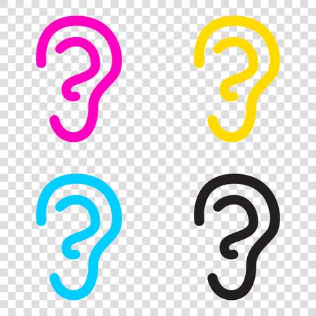 signo oído humano. iconos de CMYK en fondo transparente. Cian, magenta, amarillo, llave, negro.