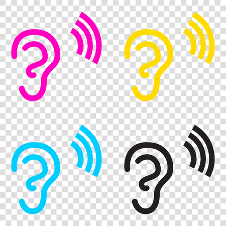 tapping: Human ear sign. CMYK icons on transparent background. Cyan, magenta, yellow, key, black. Illustration
