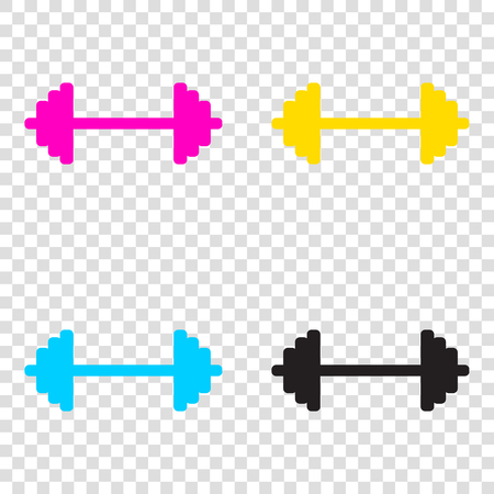 Dumbbell weights sign. CMYK icons on transparent background. Cyan, magenta, yellow, key, black.