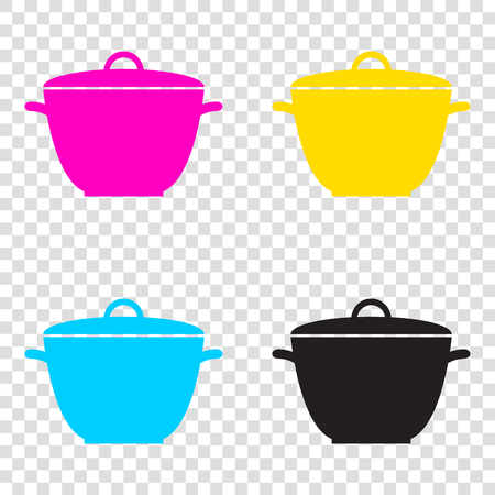 Saucepan simple sign. CMYK icons on transparent background. Cyan, magenta, yellow, key, black. Illustration