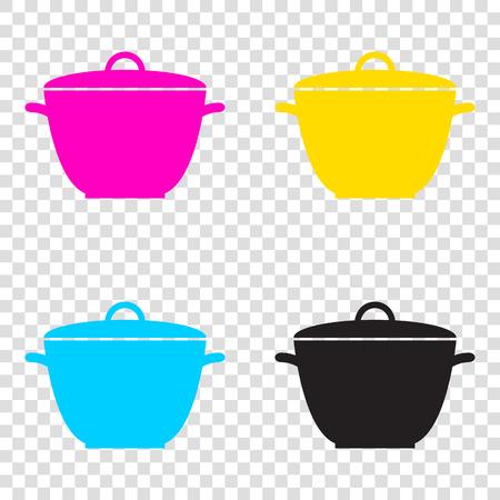 Saucepan simple sign. CMYK icons on transparent background. Cyan, magenta, yellow, key, black. Illustration