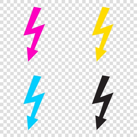 volte: High voltage danger sign. CMYK icons on transparent background. Cyan, magenta, yellow, key, black.