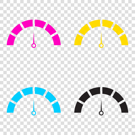 Speedometer sign illustration. CMYK icons on transparent background. Cyan, magenta, yellow, key, black.
