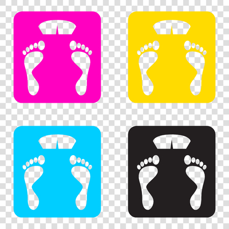 Bathroom scale sign. CMYK icons on transparent background. Cyan, magenta, yellow, key, black. Illustration