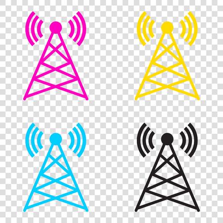 Antenna sign illustration. CMYK icons on transparent background. Cyan, magenta, yellow, key, black.