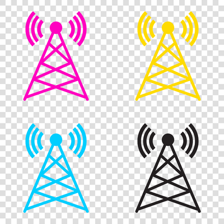 tv tower: Antenna sign illustration. CMYK icons on transparent background. Cyan, magenta, yellow, key, black.