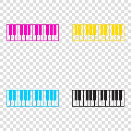 Piano Keyboard sign. CMYK icons on transparent background. Cyan, magenta, yellow, key, black.