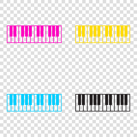 acoustically: Piano Keyboard sign. CMYK icons on transparent background. Cyan, magenta, yellow, key, black.