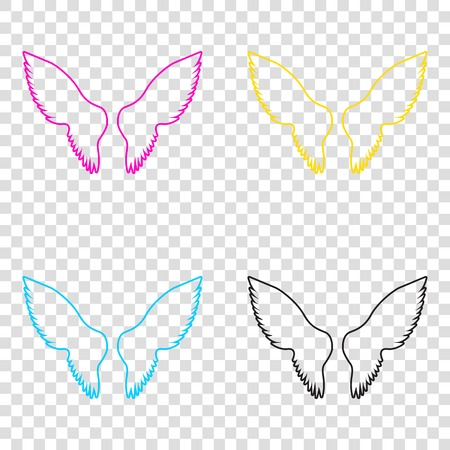 Wings sign illustration. CMYK icons on transparent background. Cyan, magenta, yellow, key, black. Illustration