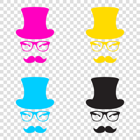 Hipster accessories design. CMYK icons on transparent background. Cyan, magenta, yellow, key, black.