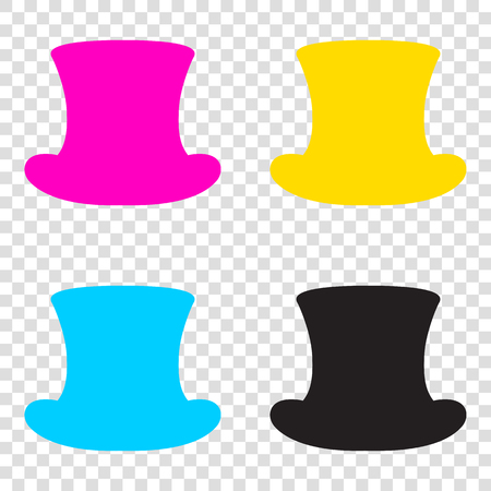 Top hat sign. CMYK icons on transparent background. Cyan, magenta, yellow, key, black. Illustration