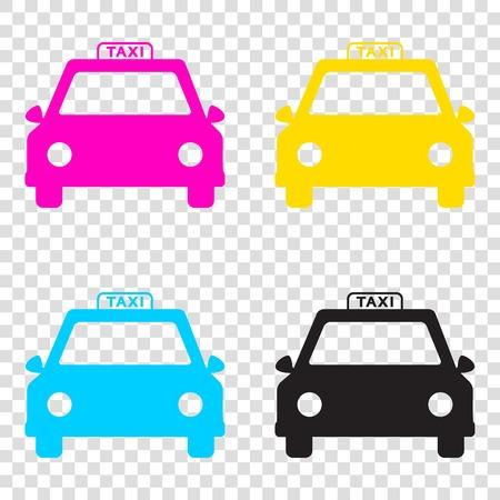 Taxi sign illustration. CMYK icons on transparent background. Cyan, magenta, yellow, key, black.