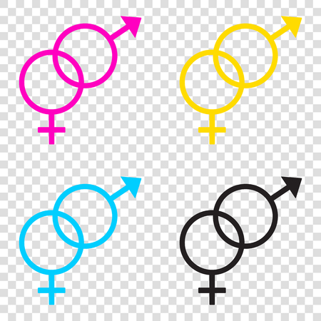 Sex symbol sign. CMYK icons on transparent background. Cyan, magenta, yellow, key, black.