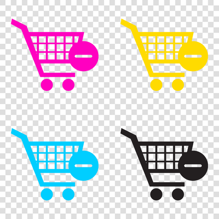 Vector Shopping Cart with Remove sign. CMYK icons on transparent background. Cyan, magenta, yellow, key, black.