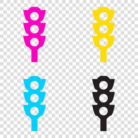 Traffic light sign. CMYK icons on transparent background. Cyan, magenta, yellow, key, black.