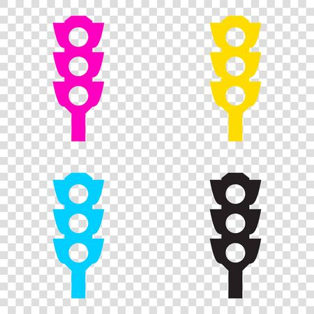 stop and go light: Traffic light sign. CMYK icons on transparent background. Cyan, magenta, yellow, key, black.