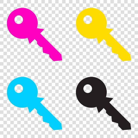 administrador de empresas: Key sign illustration. CMYK icons on transparent background. Cyan, magenta, yellow, key, black.