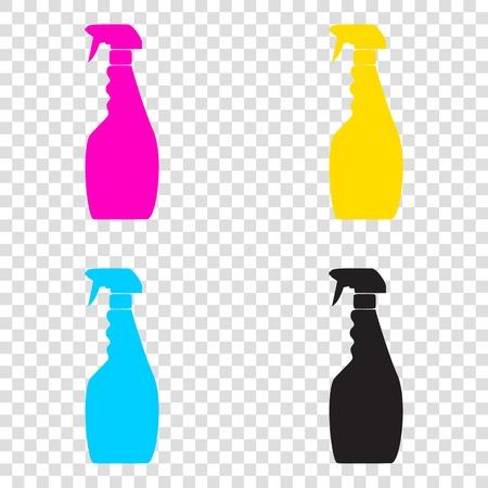 Plastic bottle for cleaning. CMYK icons on transparent background. Cyan, magenta, yellow, key, black. Illustration