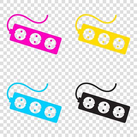 Electric extension plug sign. CMYK icons on transparent background. Cyan, magenta, yellow, key, black.