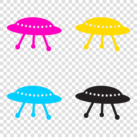 UFO simple sign. CMYK icons on transparent background. Cyan, magenta, yellow, key, black.