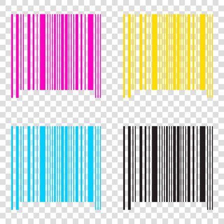 Bar code sign. CMYK icons on transparent background. Cyan, magenta, yellow, key, black. Illustration