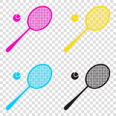 Tennis racquet sign. CMYK icons on transparent background. Cyan, magenta, yellow, key, black.
