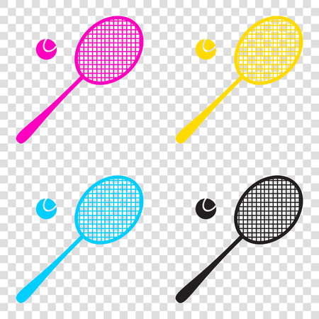 racquet: Tennis racquet sign. CMYK icons on transparent background. Cyan, magenta, yellow, key, black.