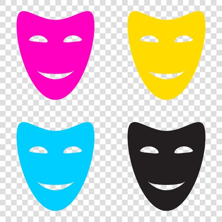 comedy background: Comedy theatrical masks. CMYK icons on transparent background. Cyan, magenta, yellow, key, black. Illustration