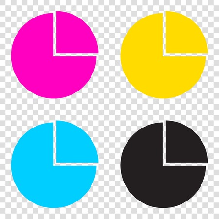 cyan business: Business graph sign. CMYK icons on transparent background. Cyan, magenta, yellow, key, black.