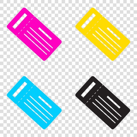 Ticket simple sign. CMYK icons on transparent background. Cyan, magenta, yellow, key, black.