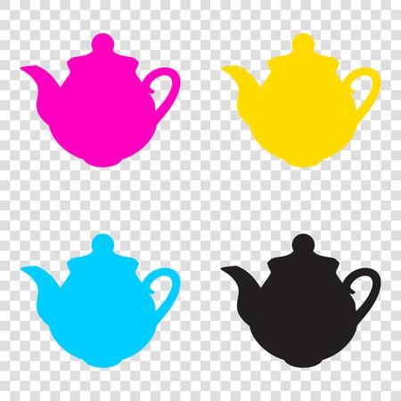 Tea maker Kitchen sign. CMYK icons on transparent background. Cyan, magenta, yellow, key, black.