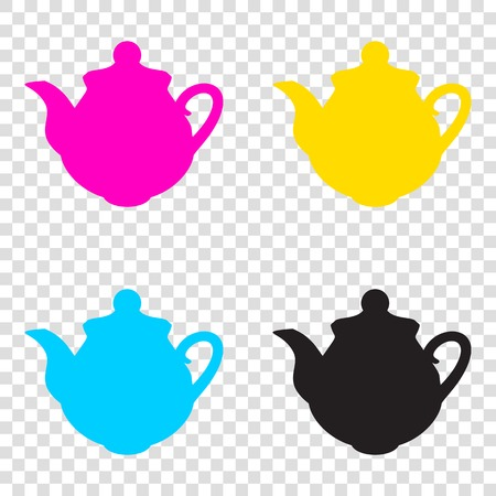Tea maker Kitchen sign. CMYK icons on transparent background. Cyan, magenta, yellow, key, black.