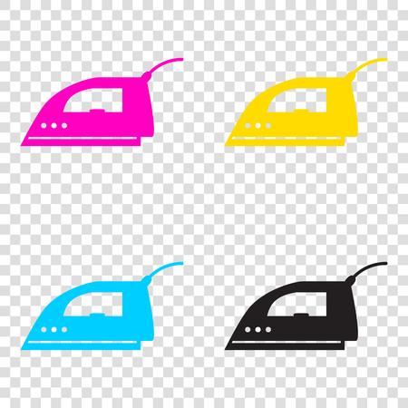 Smoothing Iron sign. CMYK icons on transparent background. Cyan, magenta, yellow, key, black. Illustration