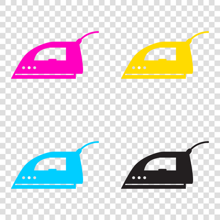 Smoothing Iron sign. CMYK icons on transparent background. Cyan, magenta, yellow, key, black. Illustration