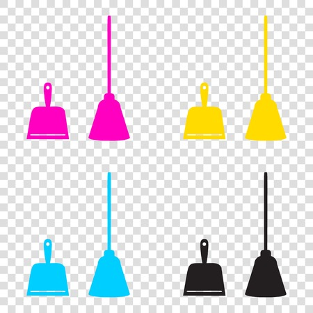 whisk broom: Dustpan vector sign. Scoop for cleaning garbage housework dustpan equipment. CMYK icons on transparent background. Cyan, magenta, yellow, key, black. Illustration