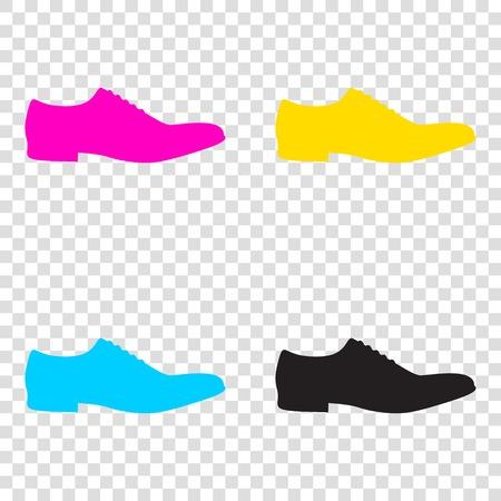Men Shoes sign. CMYK icons on transparent background. Cyan, magenta, yellow, key, black. Illustration