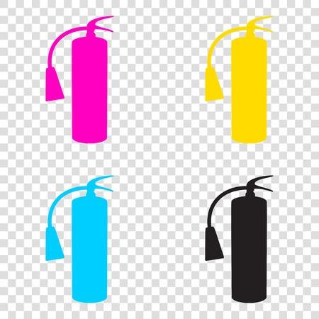 Fire extinguisher sign. CMYK icons on transparent background. Cyan, magenta, yellow, key, black. Illustration