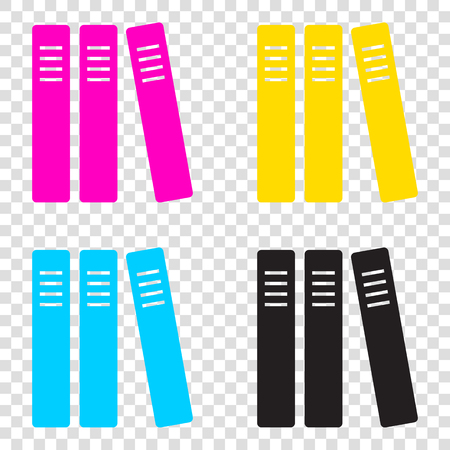 Row of binders, office folders icon. CMYK icons on transparent background. Cyan, magenta, yellow, key, black.