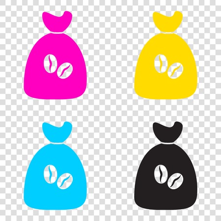 Coffee bag Icon. Coffee bag Vector. Coffee bag Icon Button. CMYK icons on transparent background. Cyan, magenta, yellow, key, black.