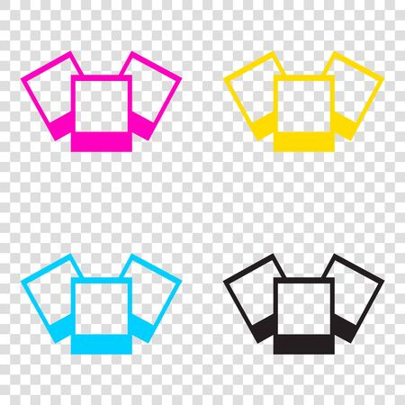 Photo sign illustration. CMYK icons on transparent background. Cyan, magenta, yellow, key, black.