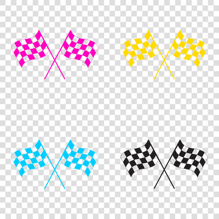 chequer: Crossed checkered flags logo waving in the wind conceptual of motor sport. CMYK icons on transparent background. Cyan, magenta, yellow, key, black.