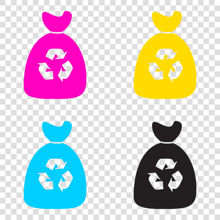 segregate: Trash bag icon. CMYK icons on transparent background. Cyan, magenta, yellow, key, black.